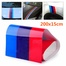 For BMW M-Colored Power Flag Stripe Sticker Decal Auto Car Hood Roof Fender 2M Light Blue/Dark Blue/Red fashionable car sticker гарнитура qcyber roof black red звук 7 1 2 2m usb