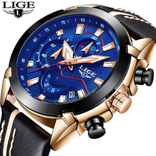 LIGE Mens Watches Business Fashion Top Luxury Brand Watch Mens Sports Casual Waterproof Leather Quartz Watch Relogio Masculino
