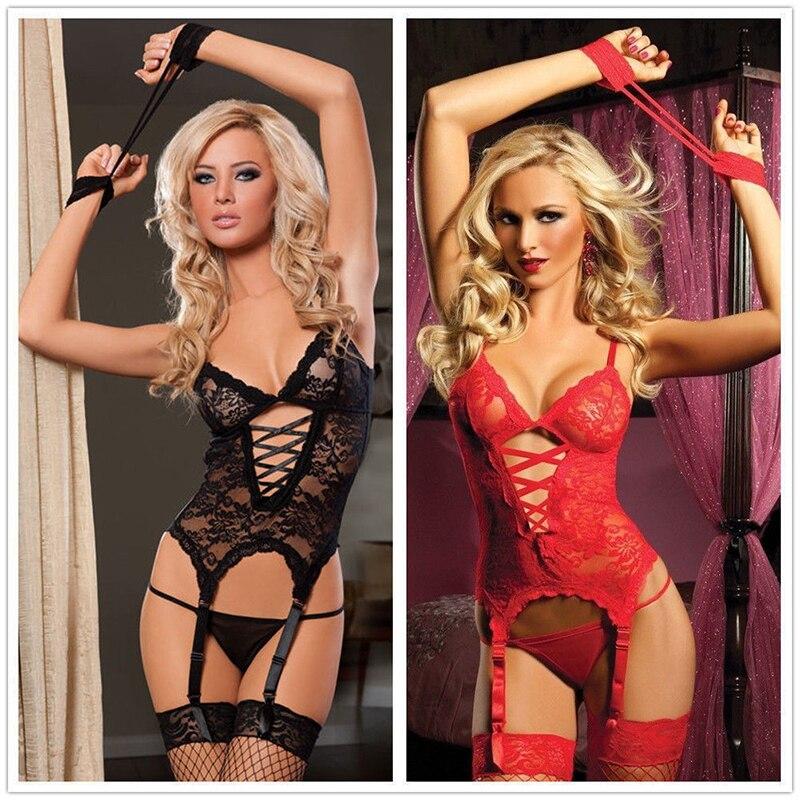 Women Sexy Clothing Underwear Plus Size XL XXL  Sexy  Teddy Satin Nighty Babydoll Nightwear Corset Garters
