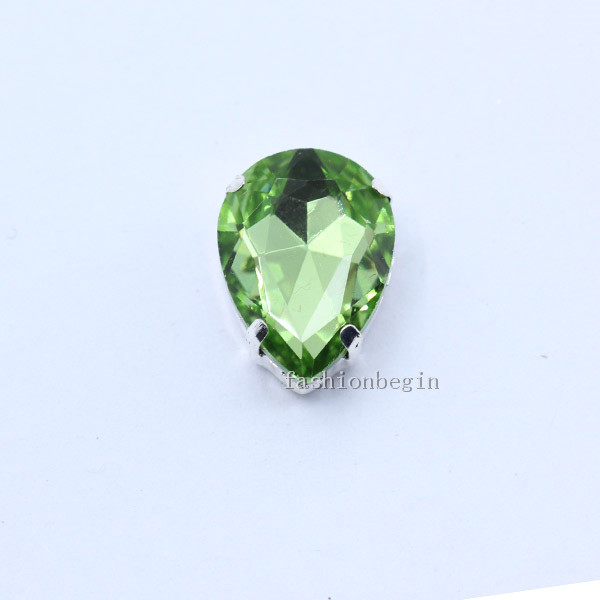 Все размеры слеза 24-Цвет стекло камень Пришить с украшением в виде кристаллов Стразы diamantes для шитья серебряной оправе в виде когтя для рукоделия Костюмы аксессуары - Цвет: lt green
