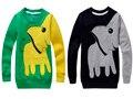Meninos camiseta de manga longa outono 2016 dos desenhos animados t-shirt de manga comprida para meninos outono elefante impresso manga longa outono camisa Do Menino t