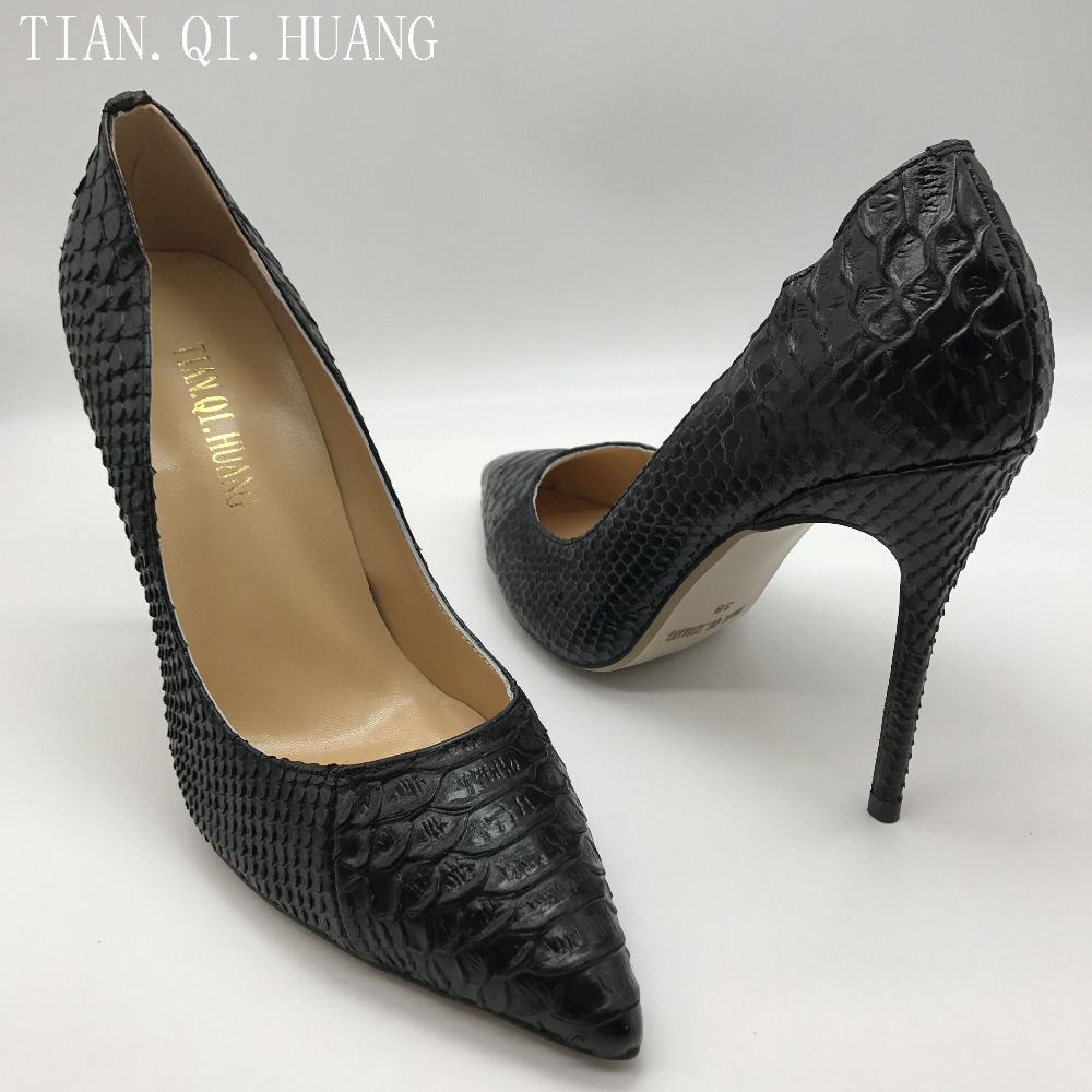 2017 Hot Sales Women Pumps Fashion Design High Heels Shoes High Quality Snake Pattern Styles Genuine