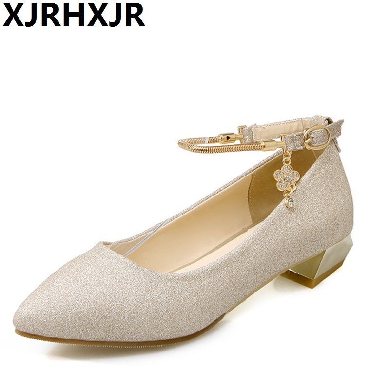 XJRHXJR Fashion Buckle Crystals Bling Pumps Women Elegant Low Heels Pointed toe Party Wedding Shoes Woman Glod Sliver Black lucyever fashion buckle crystals bling pumps women elegant thin high heels point toe party wedding shoes woman glod sliver black