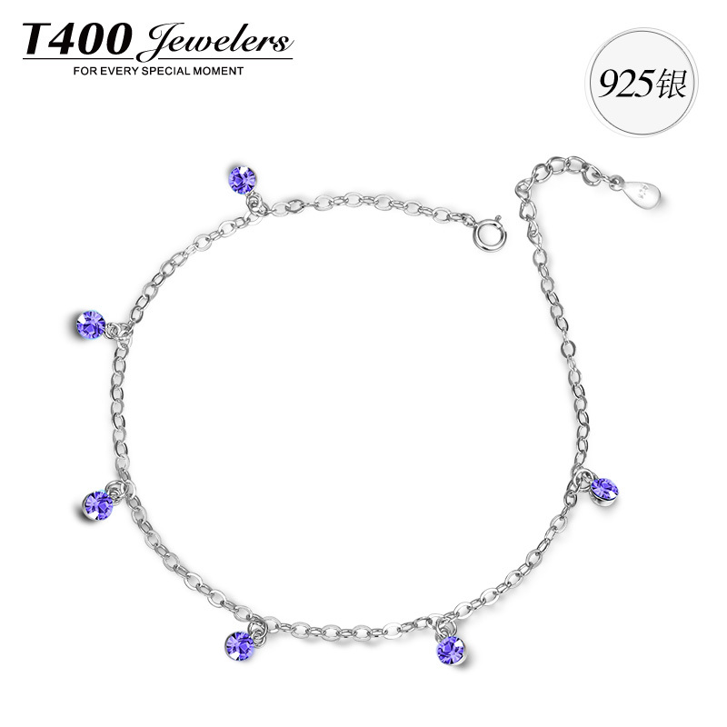 T400 birthday gifts fashion enamel star anklet made with high quality cubic zirconia 925 sterling silver