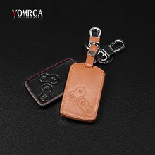 Top layer Leather car keychain car key cover case holder for Renault Clio Scenic Megane Duster Sandero 4 button starline a93