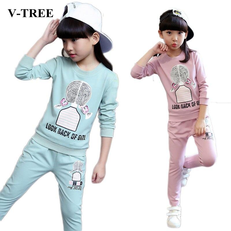 V-TREE Children Sports Suit For Girls Tracksuit Autumn Girl Outfit Roupas Infantis Menina Clothes Sets Teenager Clothing Set комплект одежды для девочек children clothing 2 roupas infantis menina