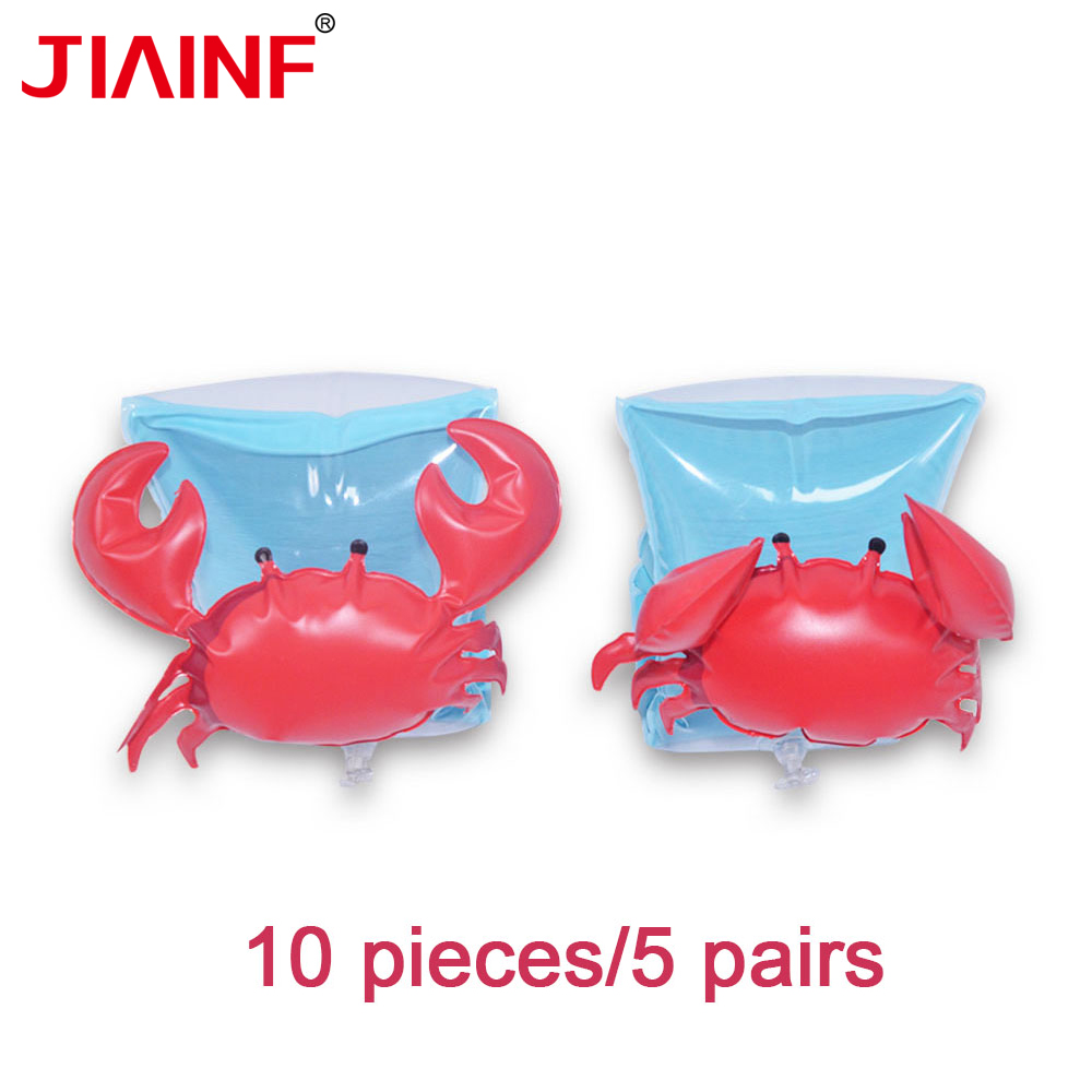 JIAINF Inflatable Kids Swimming Arm Ring For Children Red Crab Water Float Party Toys Cute Pool Float For Kids 10pcs/5 Pairs