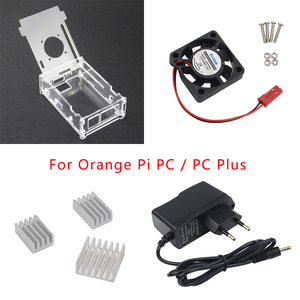 Orange Pi PC Acrylic Case Box Shell+Cooling Fan+DC 5V 2.5A Power Supply Adapter+Aluminum Heat Sink for Orange Pi PC/PC Plus