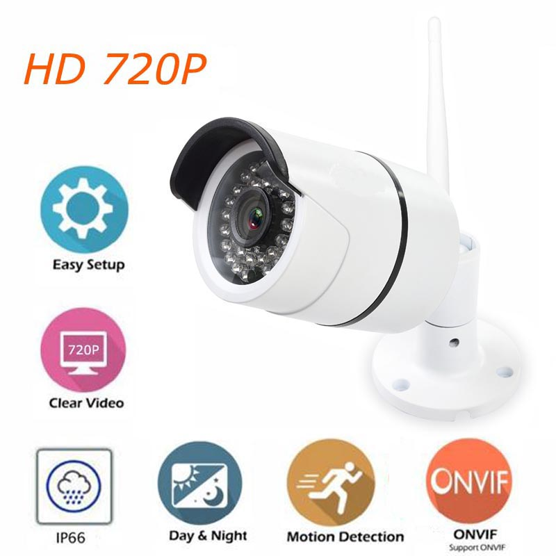 720P IP Camera Wi-Fi Outdoor Wireless Bullet Camera HD Waterproof Surveillance Camera with IR CUT Night Vision ONVIF bullet camera tube camera headset holder with varied size in diameter