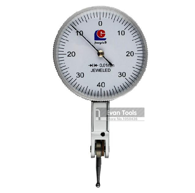 ФОТО GUANGLU Dial Indicator 0-0.8mm Precision 0.01mm Leverage Micrometer Dial Test Gauge Reloj Comparador Measure Tools