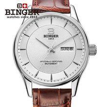Switzerland men's watch luxury brand Wristwatches BINGER luminous Mechanical Wristwatches leather strap Waterproof clock B5008-7