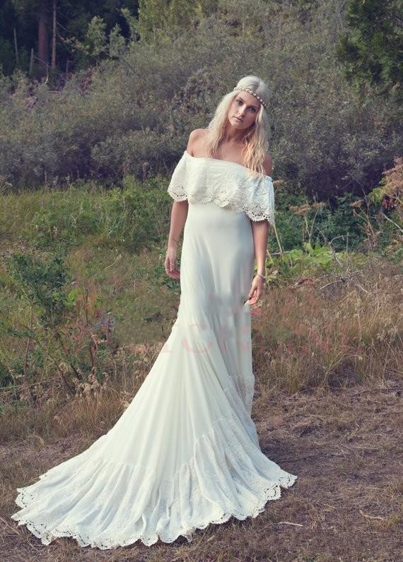 vintage forest style bohemian chiffon long spanish bridal gown boho lace edge wedding dresses with short sleeves robe de mariage