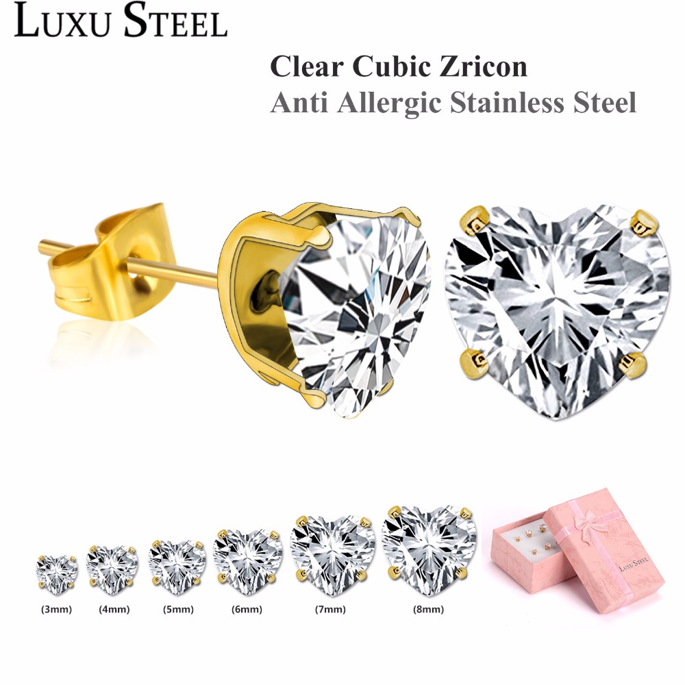 LUXUSTEEL Stainless Steel Earring Sets Gold Color Heart Shape Crystal Stud Earring For Women/Girl 6pairs/Box luxusteel gold silver color round opal stainless steel earring sets nickel free stud earring wholesale jewelry