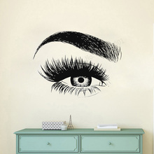 Art Salon Sticker Eyebrows Room Decoration Beauty Removeable Lashes Wall Poster Women Girls Mural Decal LY45