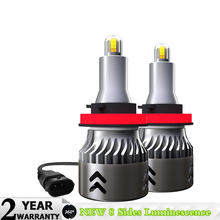 2Pcs 8 Sides H7 H11 LED Car Headlights H1 H3 HB3 HB4 9005 9006 Auto Lights CSP 15000LM 60W 360 degree 6000K Automobile Lamp
