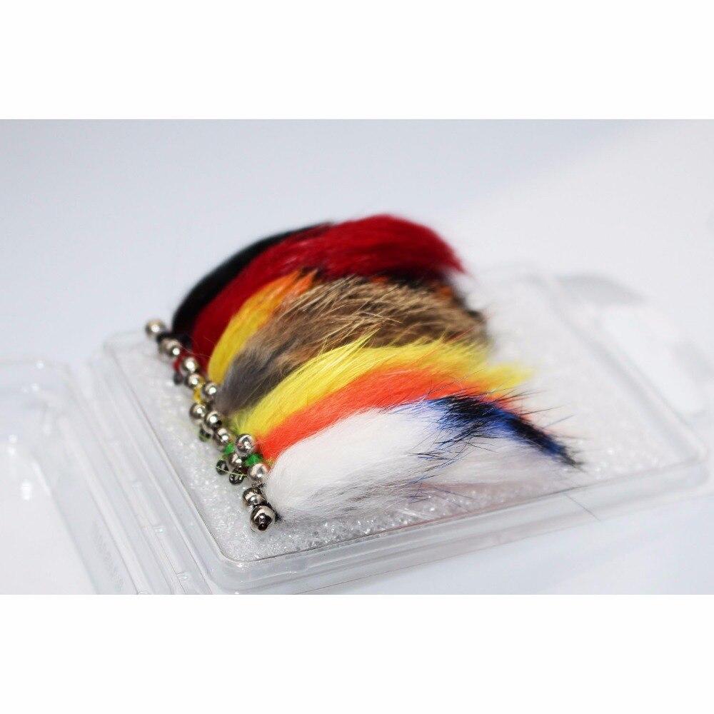 Tigofly 7 cores sortidas zonker streamers truta mosca pesca moscas iscas voar conjunto-tamanho #6