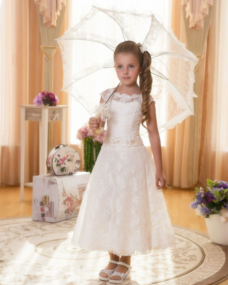 a line Ankle-Length lace   Flower     Girls     Dress   With beading Belt   Girls   Evening Prom gown First Communion   Dresses   For Little   Girls