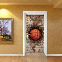 3D Sticker basketba'l'l Mosaic Door Wall Sticker 2pcs 77*200cm DIY Mural Bedroom Home Decor Poster PVC Waterproof Door Sticker