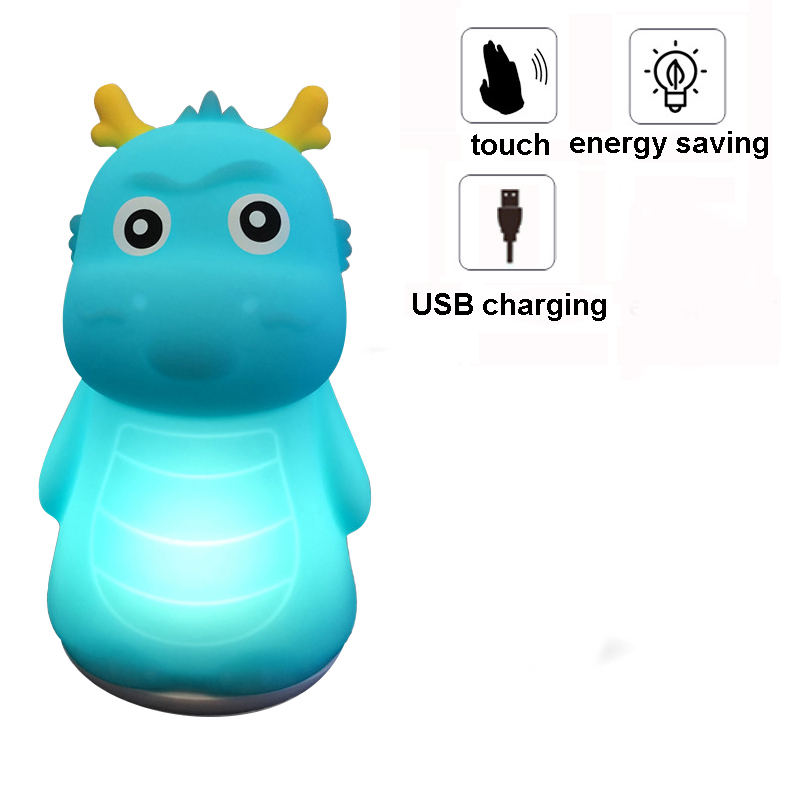Rechargeable Silicone Dinosaur LED Night Light Touch Sensor Pat Baby Nursery Lamp Bedroom Home Decoration for Kid