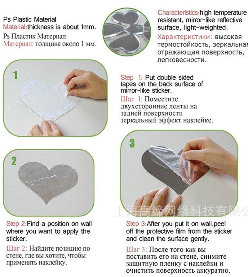 מדבקות קיר - Keythemelife 10pcs Acrylic Square Mirror Stickers 15 ... a08bc919ba84