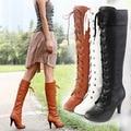 Botas Altas de las mujeres 2015 Nuevo Otoño de Las Mujeres Botas de Tacones Delgados de LA PU Tamaño 34-43 de La Moda Coreana de cuero Sexy Botas zapatos de Encaje de La Cinta