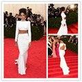 Novo estilo Rihanna Branco Sexy Celebridade do tapete vermelho Vestidos de sexo Longas Sereia Colarinho Alto Cristal Backless knitting vestido de Noite