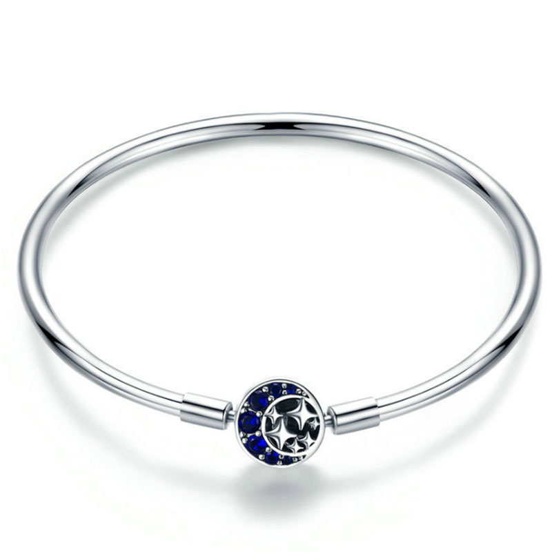 Blue CZ Moon Star Bracelet Bangle for Women Silver Dainty Bracelet Fit Pan Charm DIY Beads Jewelry Making Bridesmaid Gift
