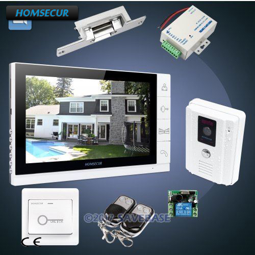HOMSECUR 9inch Wired Video Door Entry Security Intercom with White Monitor + White Camera + Strike Lock