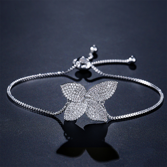Flower Leaf Shape Zircon Micro Pave Chain Bracelet