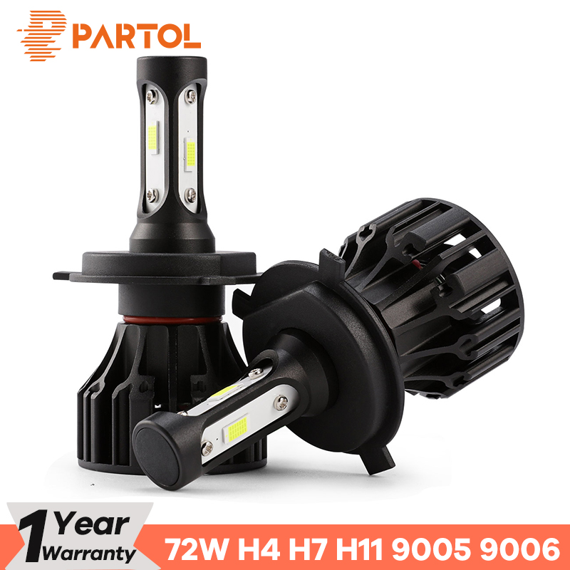 Partol T5 LED H4 Hi Lo Beam H7 H11 H1 9005 9006 H3 Car LED Headlight Bulbs 72W 8000LM Automobile Headlamp LED Light 6500K 12V 72w 8000lm led headlight high beam for mitsubishi lancer or evolution x 2008 2012 car styling exterior car light source