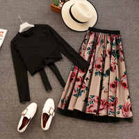 New 2020 Elegant Pink 2 Piece Set Women Sweet Cross Bowknot Irregular Crop Top T Shirt + Mesh Floral Tulle Long Skirts Suits