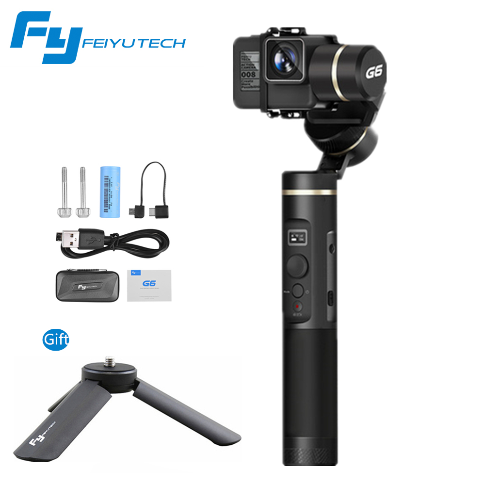 FEIYU G6 GoPro 6 5 4 RX0 xiaomi yi 4 kスポーツカメラAPPリモートコントロールfeiyu g6用3軸スマートジンバルハンドヘルドスタビライザー