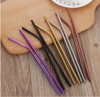 Free shipping 400Pc High Quality Colorful Straw 304 Stainless Steel Straws Reusable Bent Metal Drinking Straw with Cleaner Brush