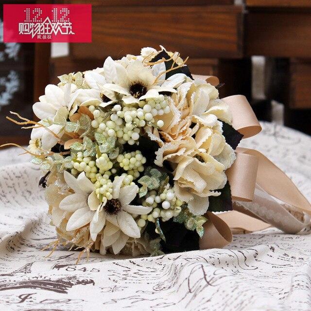 2017 Новый Arival Дешевые Свадебные/Невесты Свадебный Букет Романтический Пион Слоновой Кости Подсолнечное Ручной Искусственные Букеты