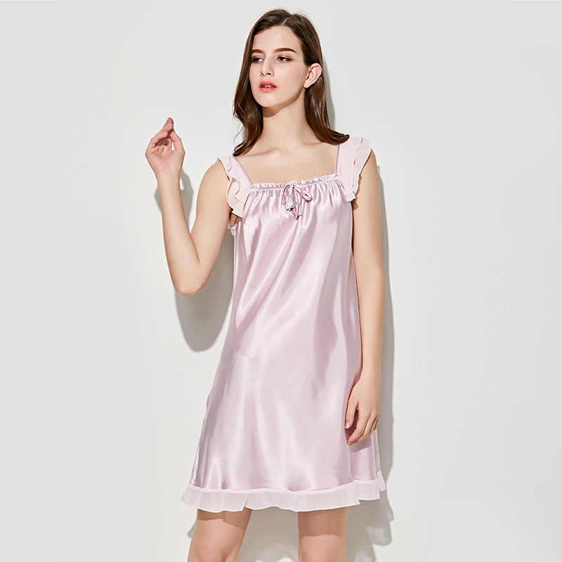6f7e7707236d ... New Women's Sexy Lingerie Satin Silk Night Dress Plus Size Sleepwear  Lace Nightgown Elegant Summer Dress