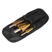 3pcs HSS Step Drill Bits Titanium Coated Straight Flute Pagoda Drill Bit Set 4 12 4