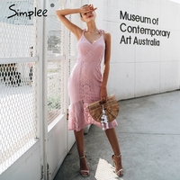 Simplee Strap Floral V Neck Lace Dress Women Autumn Slim Fishtail Lining Sexy Dress Female 2017