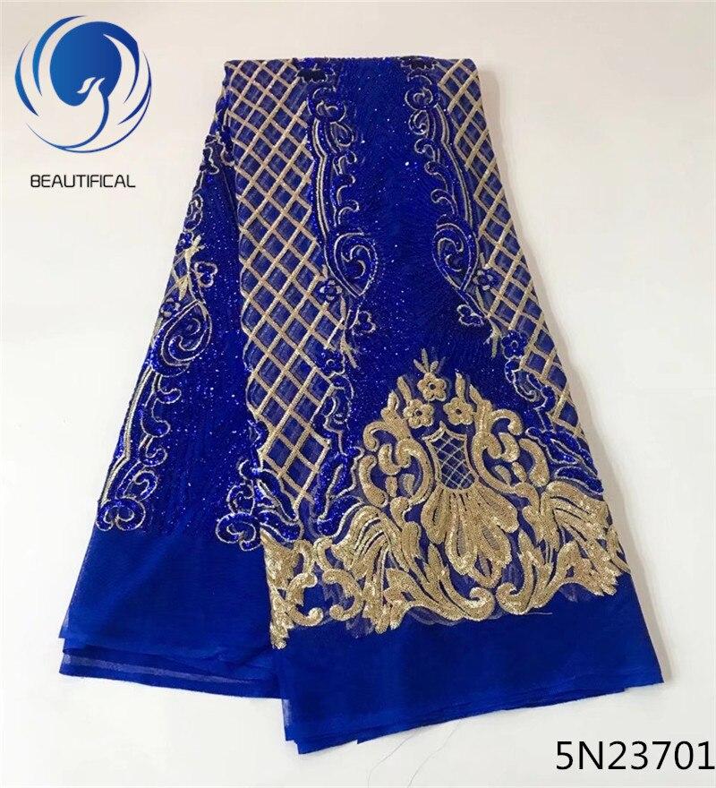 Beautifical 아프리카 레이스 원단 최신 패션 로얄 블루 자수 그물 레이스 스팽글 믹스 골드 스팽글 레이스 원단 5 야드 5n237-에서레이스부터 홈 & 가든 의  그룹 1