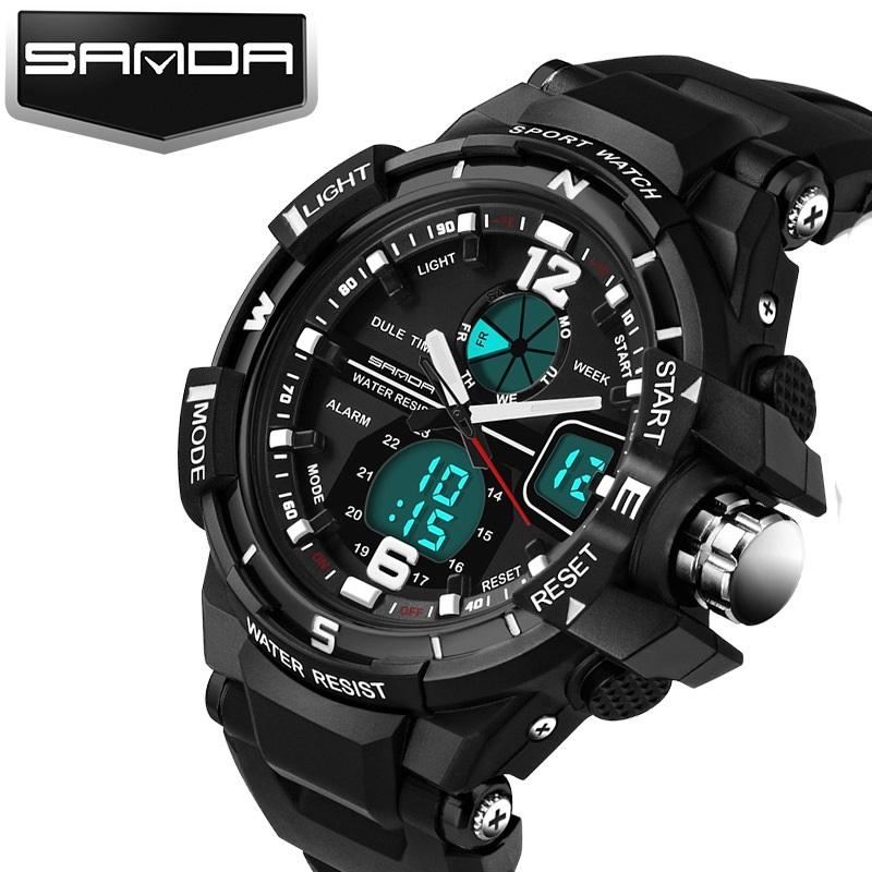 Prix pour Hommes sport montres sanda marque mâle led électronique numérique montres hommes militaire montre de mode en plein air casual hommes montres
