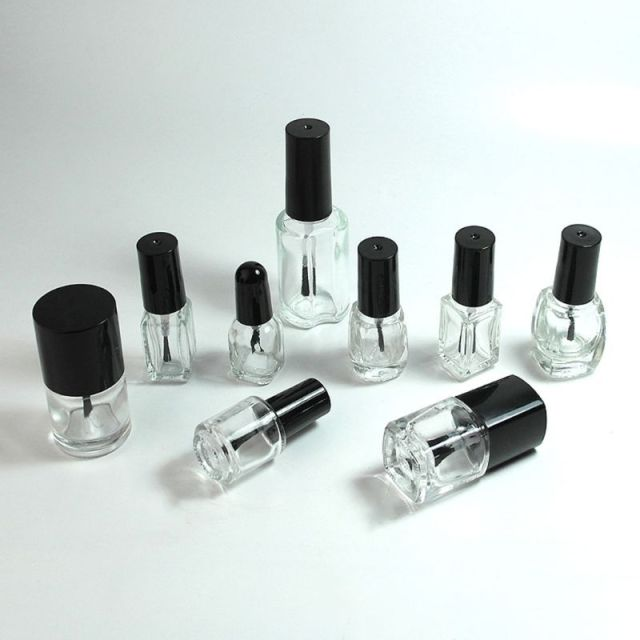 3/5/10/15ml Empty Nail Polish Glass Bottle Clear Portable UV Gel Container Refilled Storage Box Square Round Makeup Tube Brush