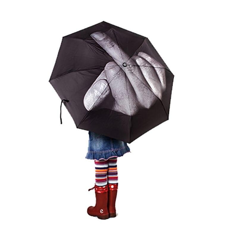 Kreative Kühle Mittelfinger Regenschirm Regen Frauen Sonnenschirm männer Regenschirm Auswirkungen Regenschirm 3 Falten