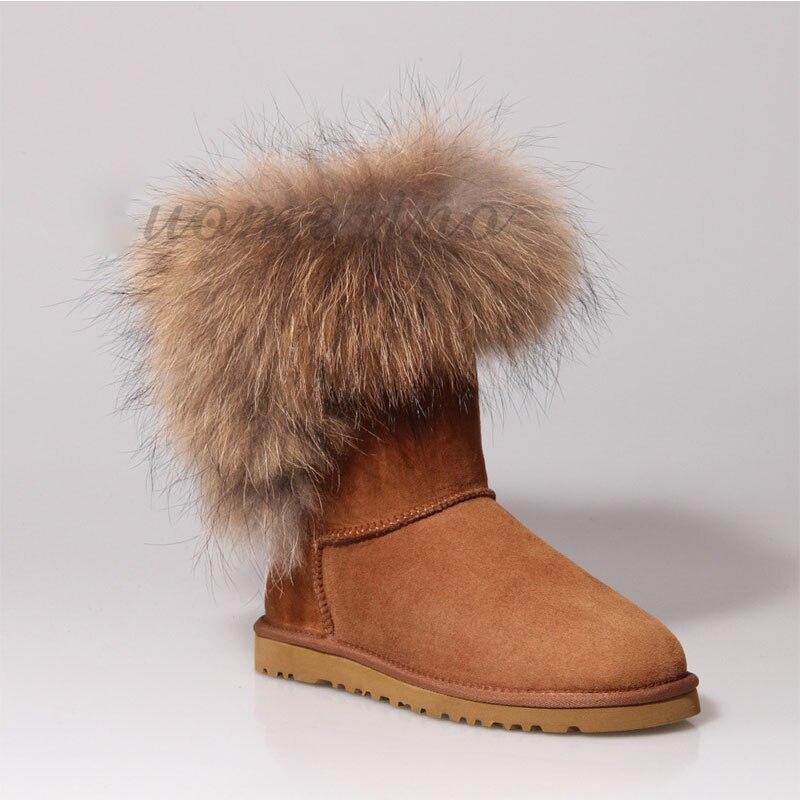 TOP Quality Women Snow Boots Fox Fur Genuine Leather Women's Winter Boots Italian Luxury Womens Boots Sheepskin Leather Shoes aiweiyi womens high quality genuine leather real fur 100