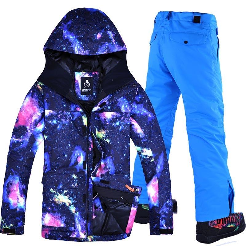 Livraison gratuite hommes veste de Ski + pantalon ensemble Snowboard costume coupe-vent imperméable veste de Ski hommes hiver Ski de neige respirant