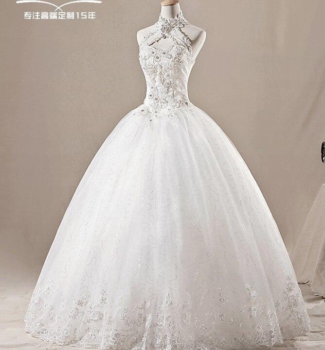 Livraison gratuite 2016 tulle formel bleu dentelle perles Lolas robe nouveau blanc/ivoire cristal col haut robe de mariée taille personnalisée/couleur