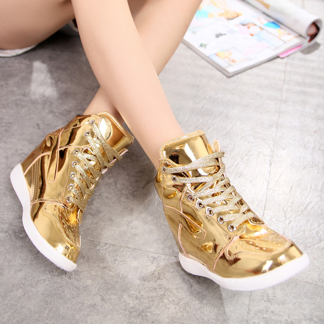 Korean style  female student's leisure shoes gold and silver color platform shoes casual shoes women's cool shoes