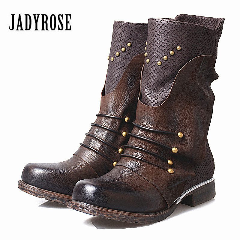 Jady Rose Vintage Genuine Leather Riding Boots Women High Boot Strap Rivets Studded Autumn Winter Female Platform Rubber BootsJady Rose Vintage Genuine Leather Riding Boots Women High Boot Strap Rivets Studded Autumn Winter Female Platform Rubber Boots