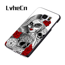 lvhecn sugar skull tattoo girl pocket watch phone case cover for samsung galaxy s3 s4 s5