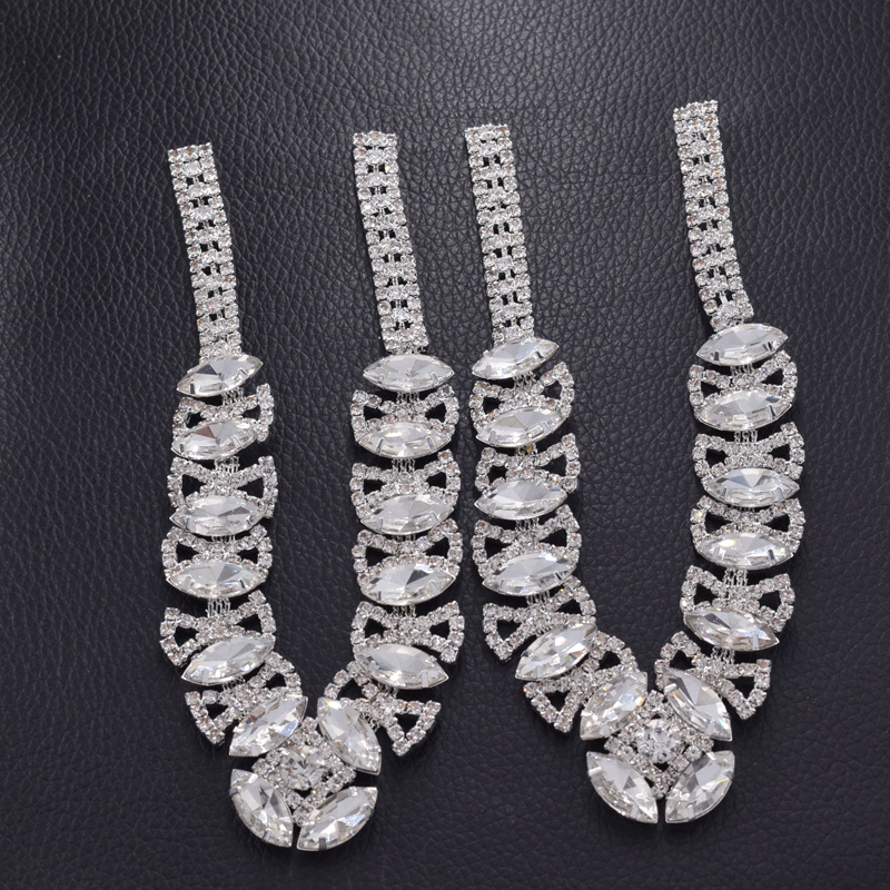 1 pair Luxury rhinestones glass appliques for ladies flip flops sew on strass patches for shoes crystal sewing DIY accessor