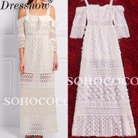 High Quality Summer Clothes Women Fashion Lace White Dress Sexy Spaghetti Strap Floor Length Bridesmaid Long Dress Girls