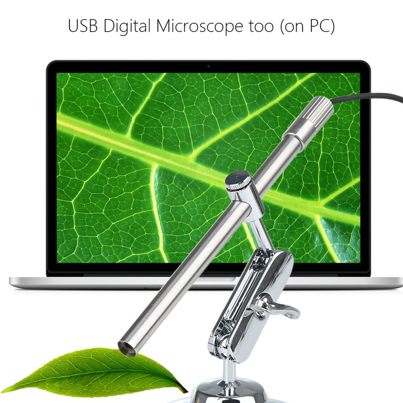 HD 2 in 1 200x USB Microscope Video Camera Magnifier USB Endoscope Inspection Camera with Table Stand for Laptop / Android Phone цена